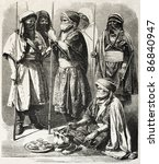 Small photo of Tuareg people old illustration. Created by Worms after photo of Alary, published on L'Illustration, Journal Universel, Paris, 1860