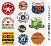 set of vintage retro gasoline... | Shutterstock .eps vector #86847100