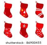 cute christmas socks set  ... | Shutterstock .eps vector #86900455