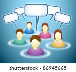 Illustration of social network members with blank faces and text boxes - stock photo