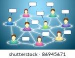 Illustration of connected social network members with blank faces and text clouds - stock photo