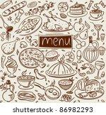 food sketch | Shutterstock .eps vector #86982293