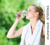 young woman drinking water... | Shutterstock . vector #87005561