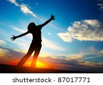 young woman with raised hands... | Shutterstock . vector #87017771