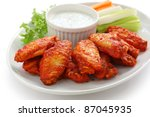 buffalo chicken wings with blue ... | Shutterstock . vector #87045935