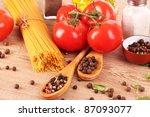 pasta spaghetti with tomatoes ... | Shutterstock . vector #87093077