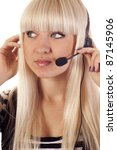 woman operator with headset | Shutterstock . vector #87145906