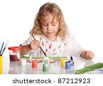 little child  drawing paint.... | Shutterstock . vector #87212923