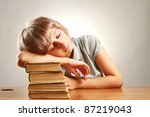 young woman sleeping on pile of ... | Shutterstock . vector #87219043