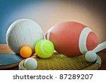sports equipment. tennis rugby... | Shutterstock . vector #87289207
