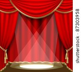 theater stage  with red curtain.... | Shutterstock .eps vector #87303958