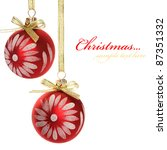 Red xmas baubles isolated on the white. - stock photo