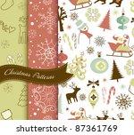 set of retro christmas patterns | Shutterstock .eps vector #87361769