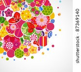 background with floral and... | Shutterstock . vector #87369140