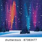 Vector northern lights and winter nature