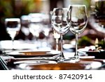 empty glasses in restaurant | Shutterstock . vector #87420914