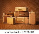 brown suitcase isolated on a... | Shutterstock . vector #87523804