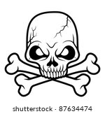 black white skull head vector...