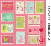 baby girl postage stamps   for... | Shutterstock .eps vector #87691498