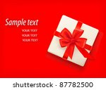 red background with gift box...