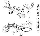 Ornamental music notes with swirls on white background - stock vector