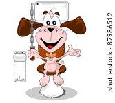 salle de bain,tourbière,peut,dessin animé,chaîne,nettoyer,clever,crap,mignon,chien,domestique,excréments,yeux,amusement,drôle