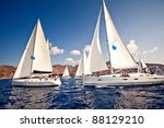 sailing ship yachts with white... | Shutterstock . vector #88129210