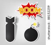 vector bomb and rocket stickers   Shutterstock .eps vector #88152259