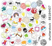 various cute pin badges | Shutterstock .eps vector #88184407