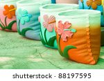 flowers on the pot. | Shutterstock . vector #88197595