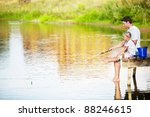 father and daughter fishing on... | Shutterstock . vector #88246615