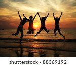 friendship travel beach sunset... | Shutterstock . vector #88369192