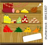 products on wooden shelves with ... | Shutterstock . vector #88413307