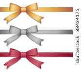 set of three leather bows on... | Shutterstock . vector #88434175