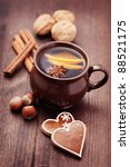Cup Of Mulled Wine With Spices...