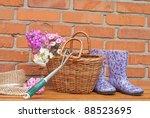 basket of flowers and gardening ... | Shutterstock . vector #88523695