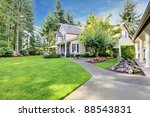 beige house with walk way and... | Shutterstock . vector #88543831