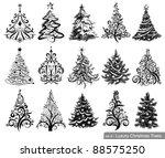 Set Of Dreawn Christmas Trees....
