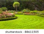 Stock photo freshly mowed lawn in a formal garden 88611505