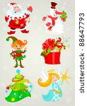 set  santa claus and friends.... | Shutterstock . vector #88647793