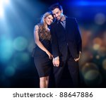 cheerful couple posing | Shutterstock . vector #88647886