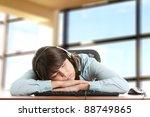 young caucasian woman sleeping... | Shutterstock . vector #88749865
