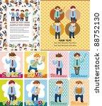 cartoon office worker card | Shutterstock .eps vector #88752130