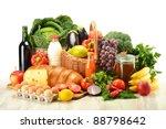 Groceries In Wicker Basket...