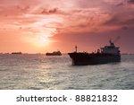 Merchant Ships In Silhouette...