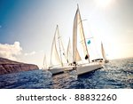 sailing ship yachts with white... | Shutterstock . vector #88832260