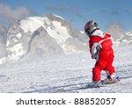 Little Skier On A Ski Slope ...
