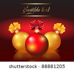 christmas card with red and... | Shutterstock . vector #88881205