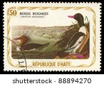 Small photo of REPUBLIQUE D'HATI - CIRCA 1975: A stamp printed in Republique D'Haiti shows Mergus Merganser (American Merganser), circa 1975