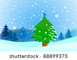 cartoon christmas tree on snow... | Shutterstock . vector #88899373